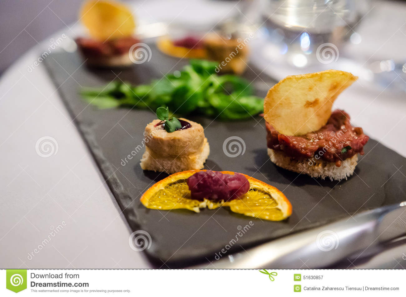 Amuse bouche in a fancy restaurant stock photo image for Amuse bouche cuisine