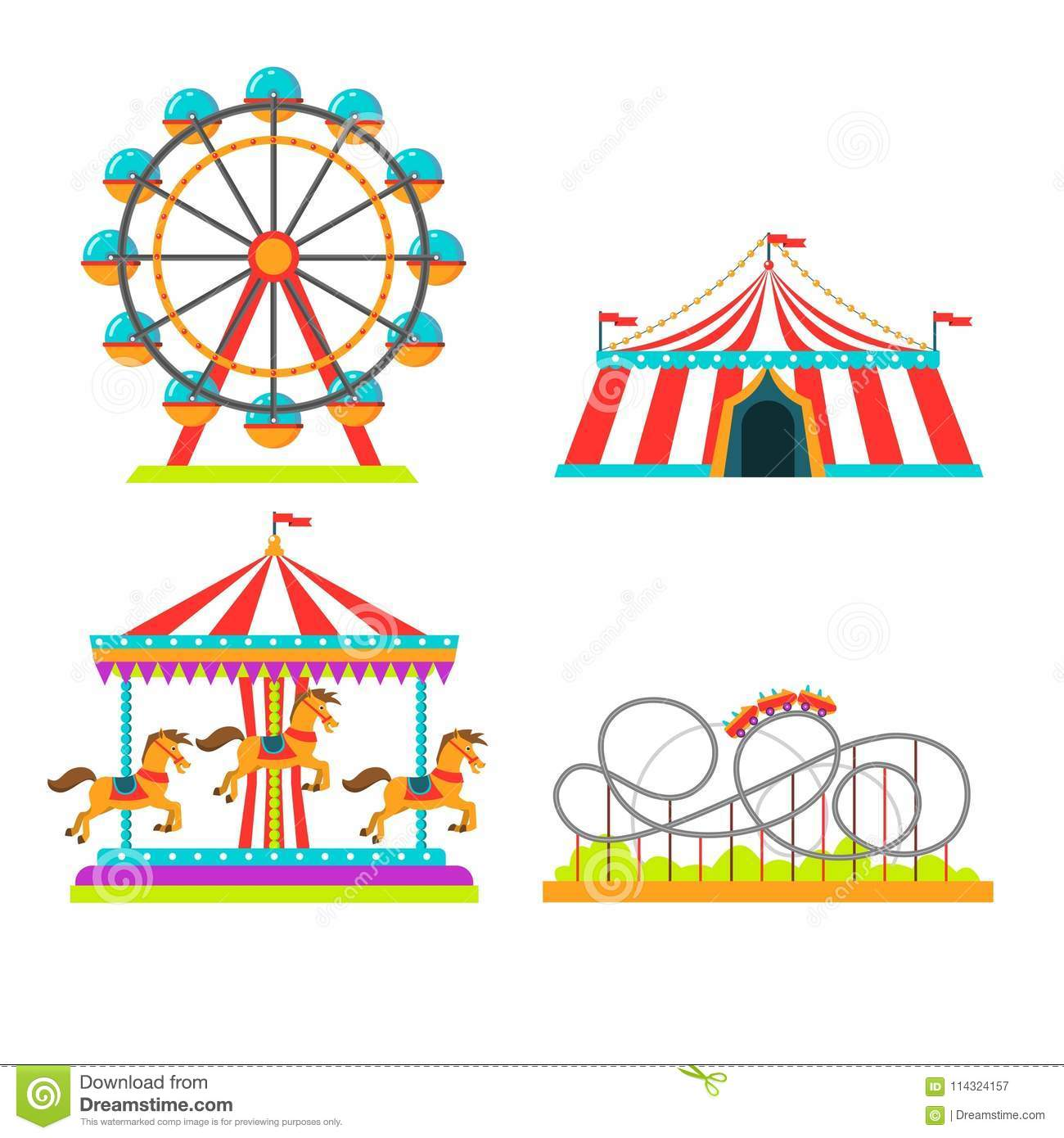 Amusement park vector illustration of attractions rides, circus tent, merry-go-round carousel and observation wheel or
