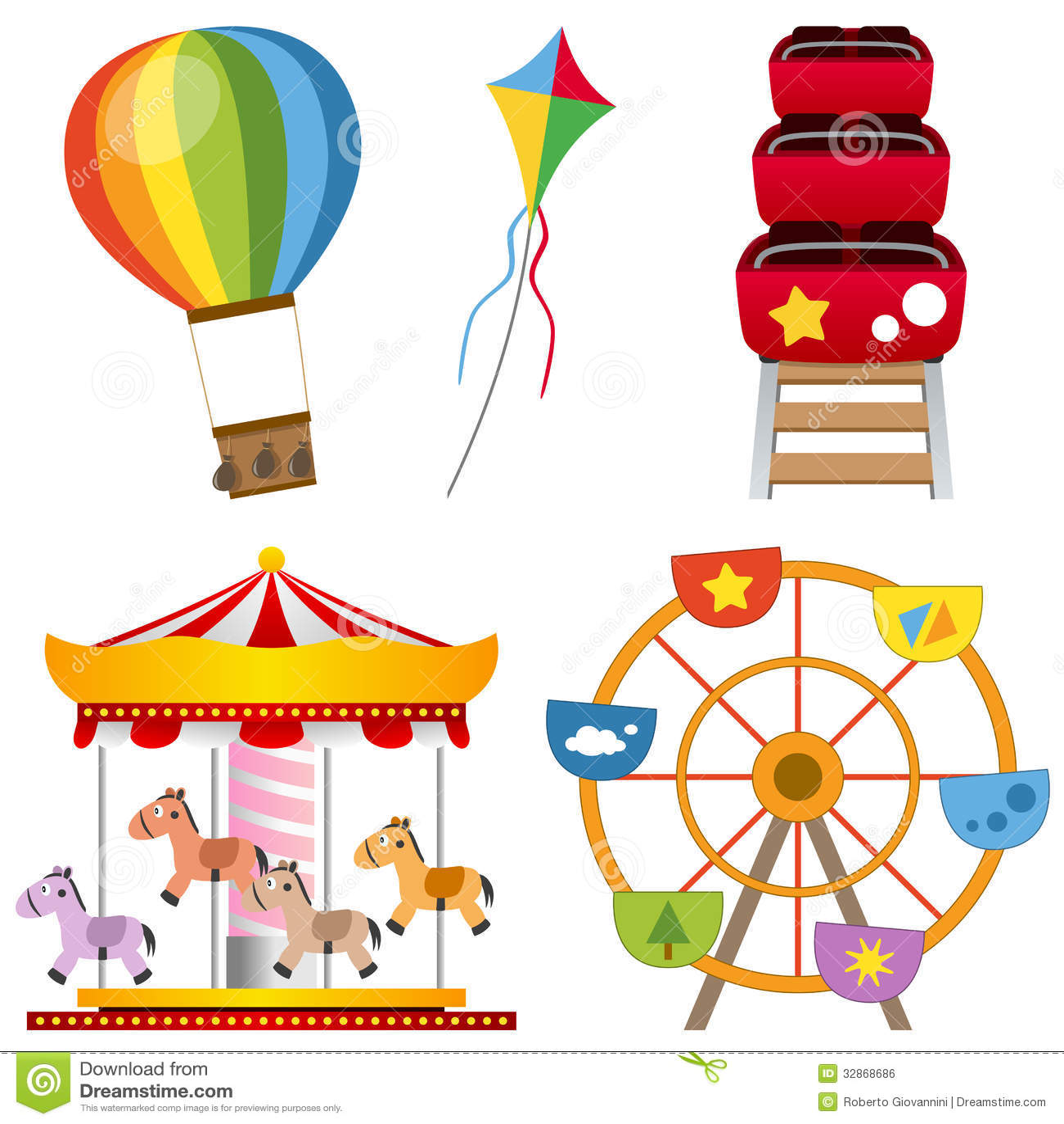 park attractions set: a hot air balloon, a kite, a roller coaster ...
