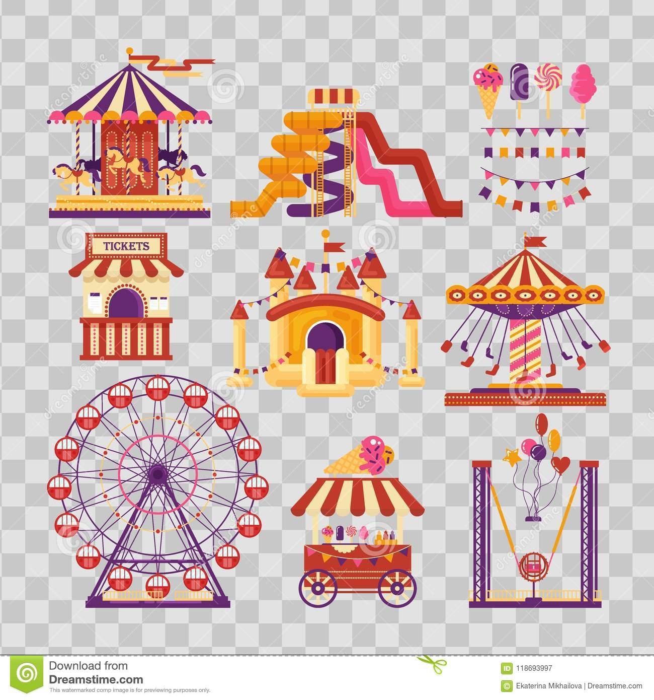 Amusement park flat elements with carousels, waterslides, balloons, flags, inflatable trampoline castle, ferris wheel