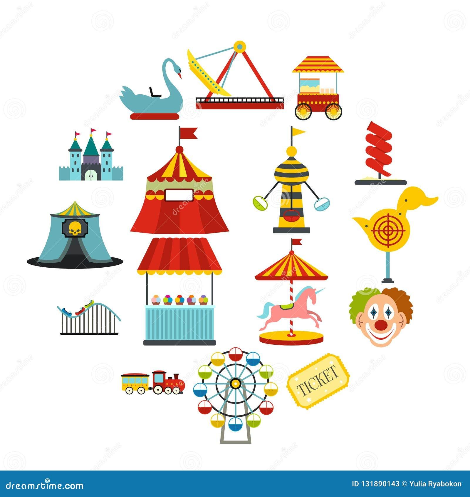 Amusement park flat icons set. Isolated on white background stock photos