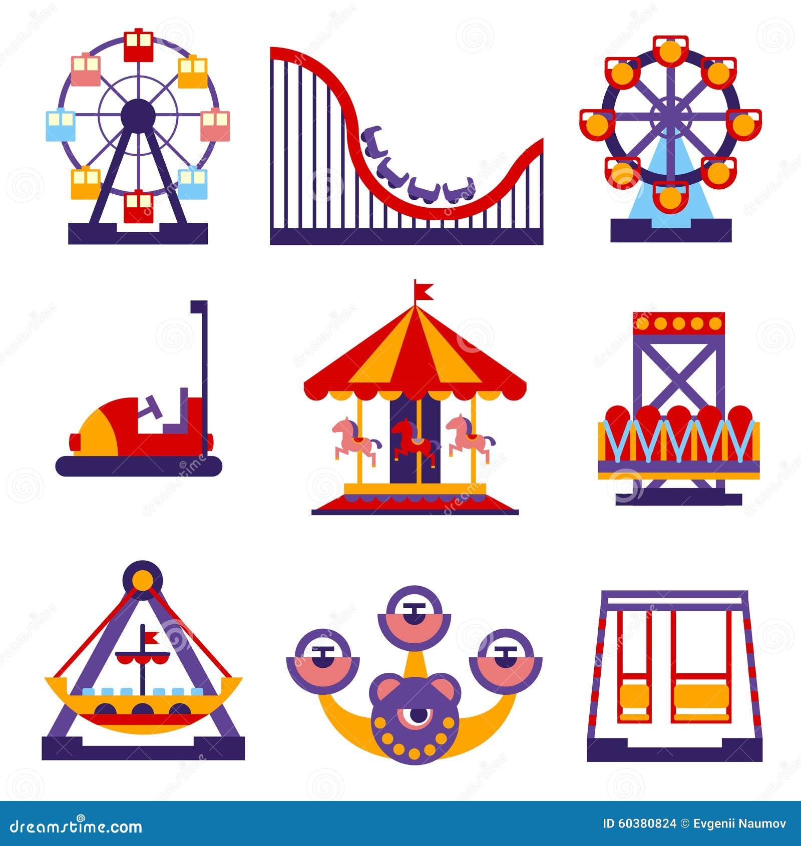 Amusement Park Icons Set of Vector Flat Design