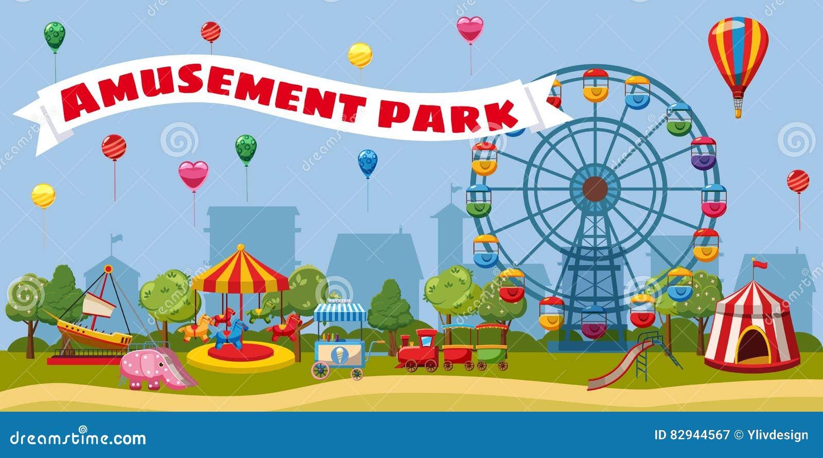 Amusement park landscape concept, cartoon style