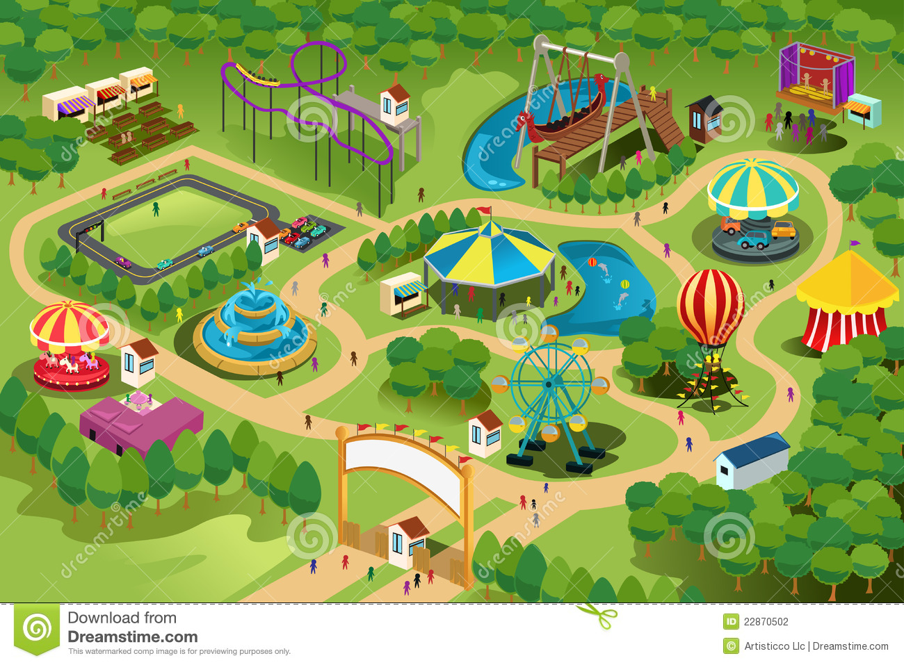 Amusement park map stock vector  Illustration of playground - 22870502