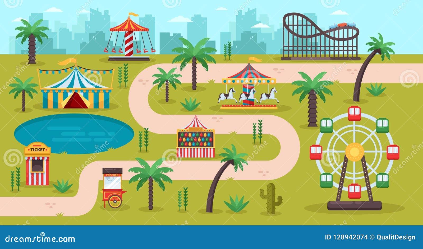 Amusement park map concept. Fun carousels, circus, ferris wheel, fair in family park, vector illustration.