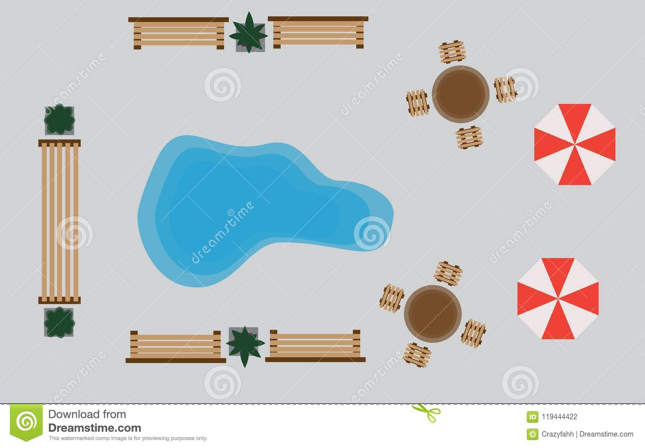 Amusement Park Map Top Viewt Of Vector Wooden Benches And