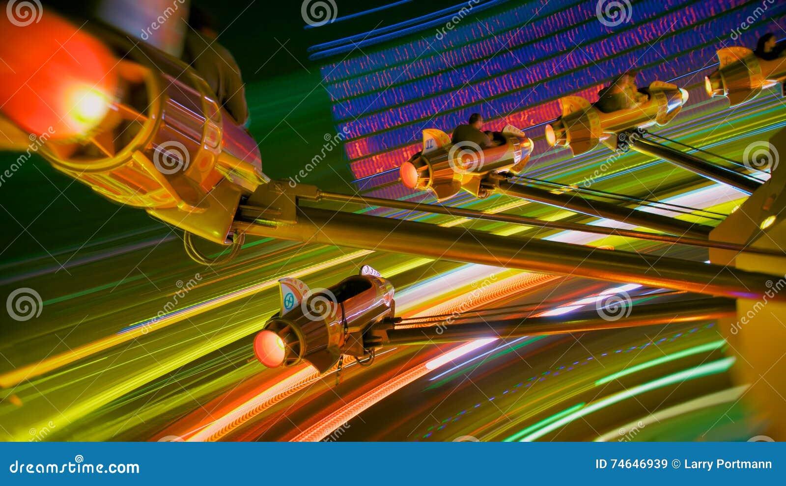 Amusement Park Rocket Ride at Night