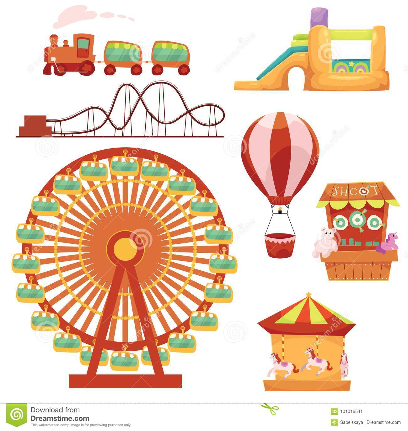 Amusement park set, cartoon vector illustration