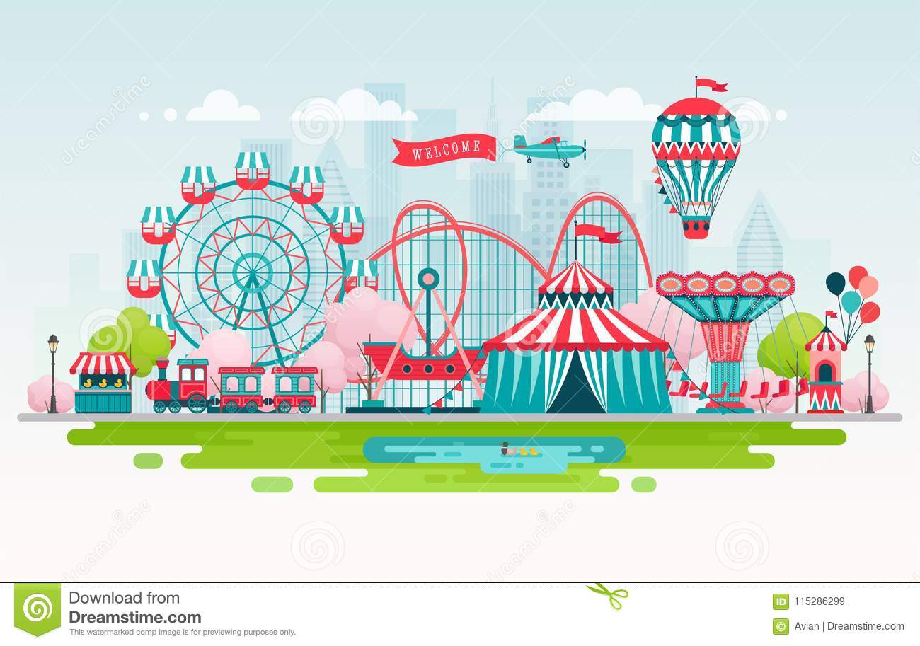 Amusement park, urban landscape with carousels, roller coaster and air balloon. Circus and Carnival theme