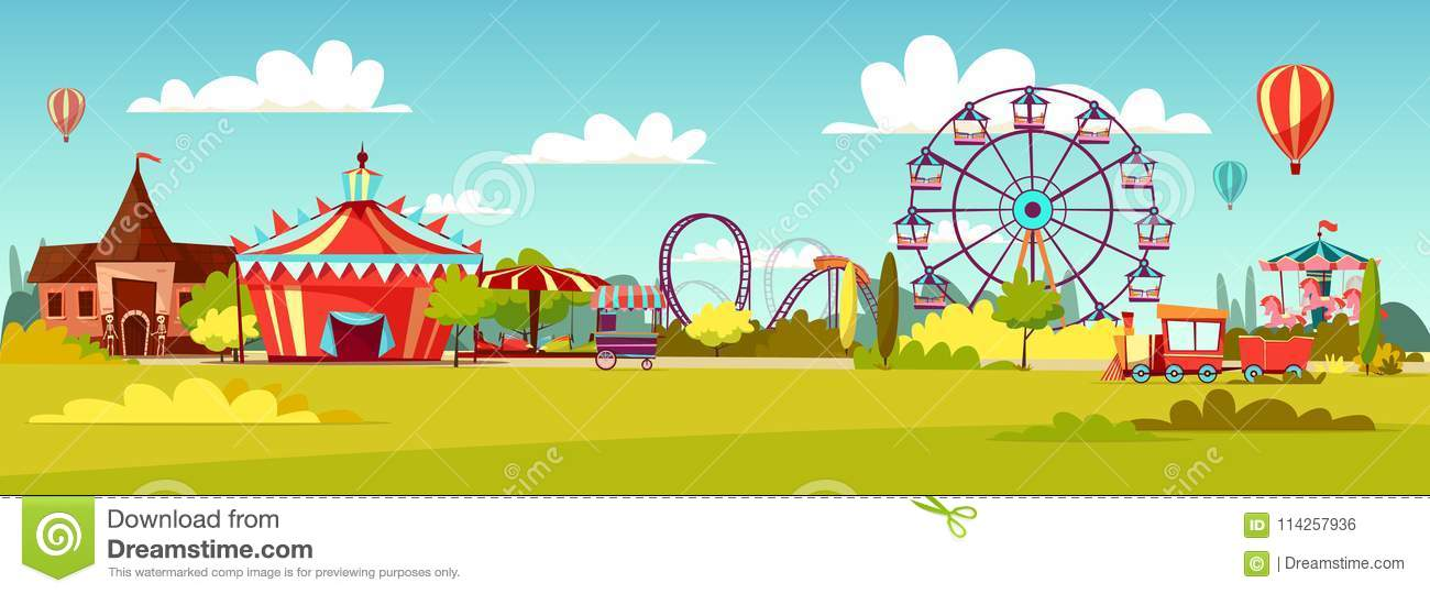 Amusement park vector cartoon illustration of attractions coaster rides, circus merry-go-round carousels and observation
