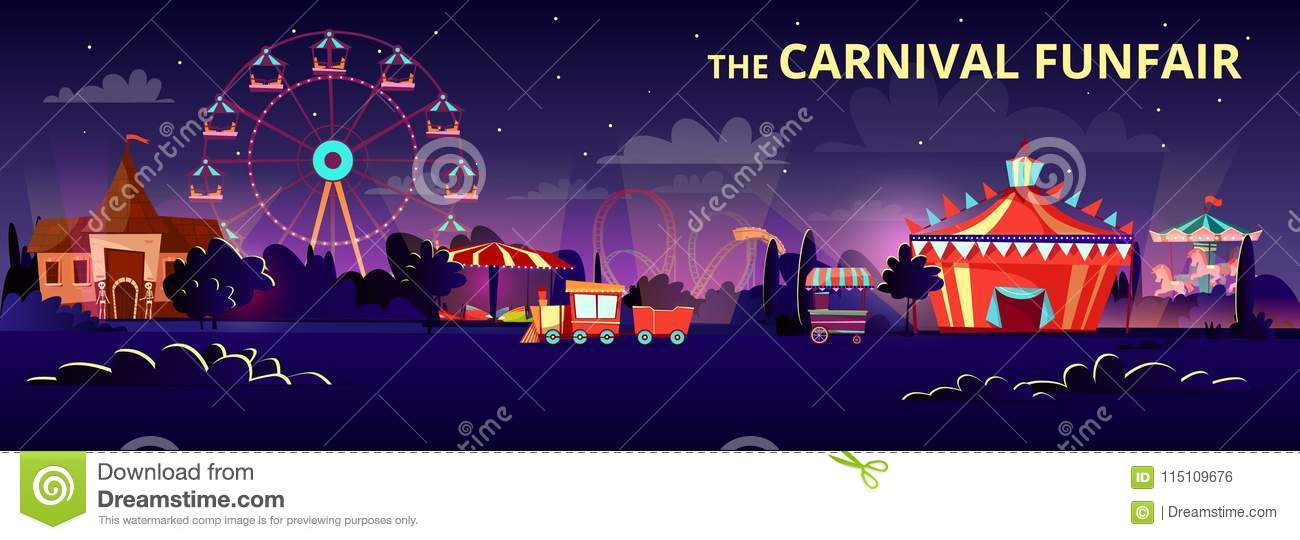 Amusement park vector cartoon illustration of carnival funfair at night with illumination of rides, carousels and circus