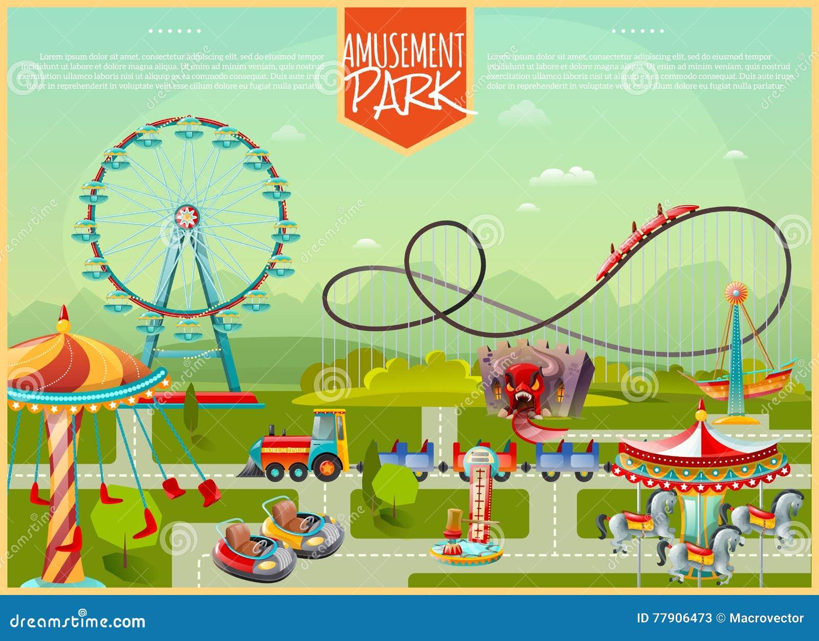 Amusement Park Vector Illustration