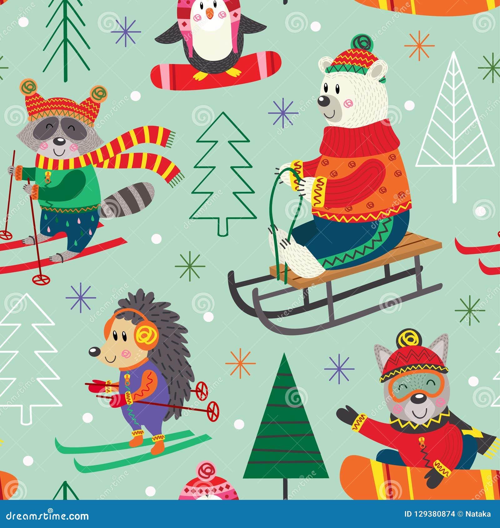 Amusement sans couture d hiver de modèle avec des animaux sur le traîneau, ski, surf des neiges