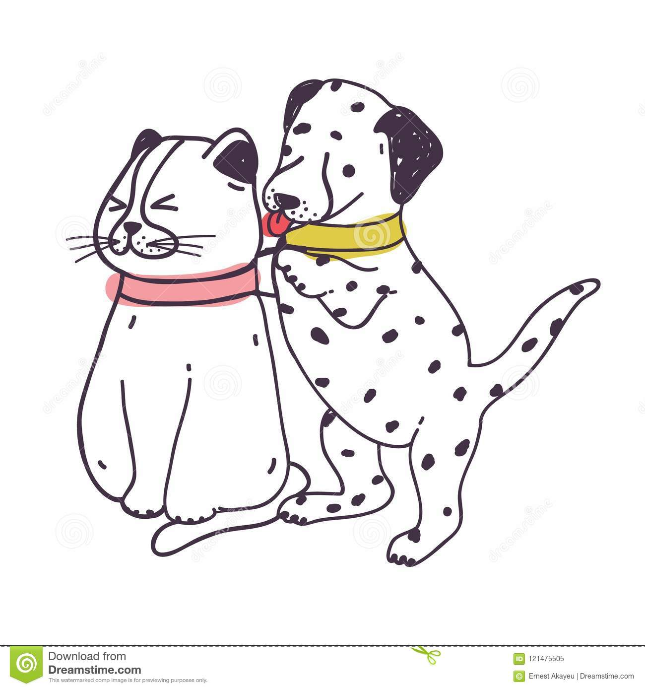 Amusing Dog Annoying Cat Playful Naughty Dalmatian Puppy Irritating And Bothering Kitten Isolated On White Background Stock Vector Illustration Of Amusing Drawing 121475505