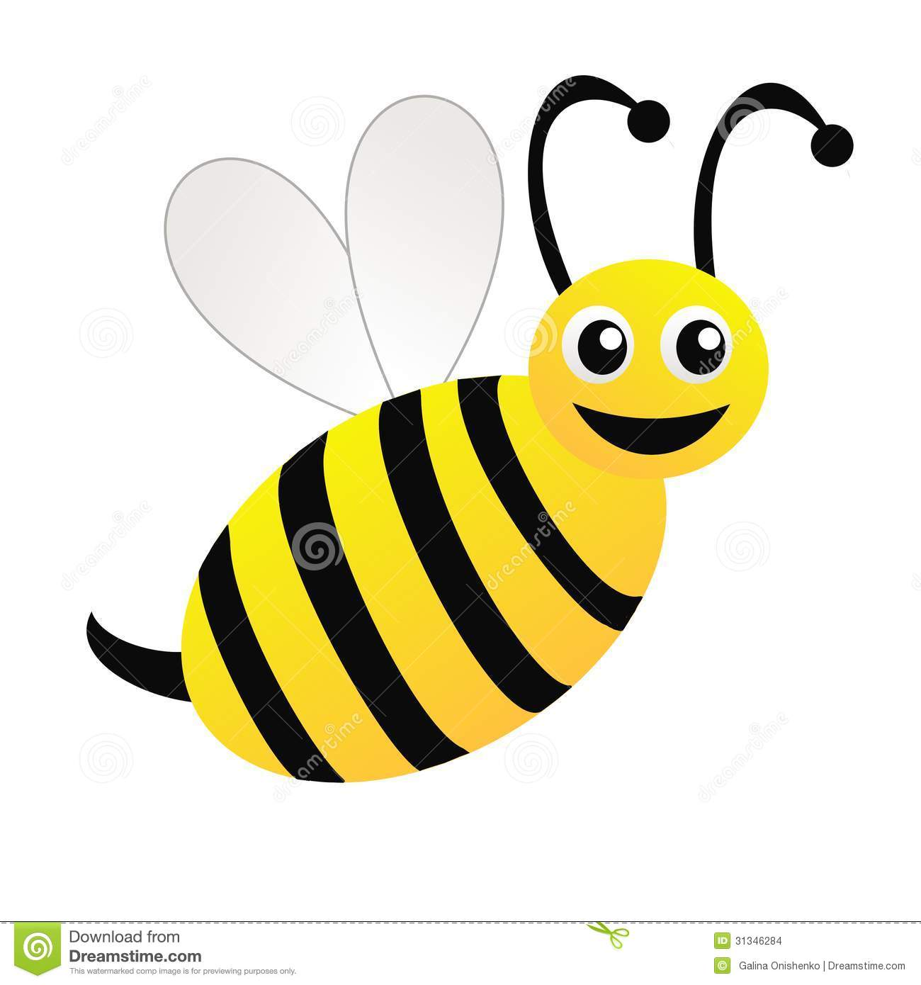 Amusing Drawn Bee On A White Background Stock Illustration