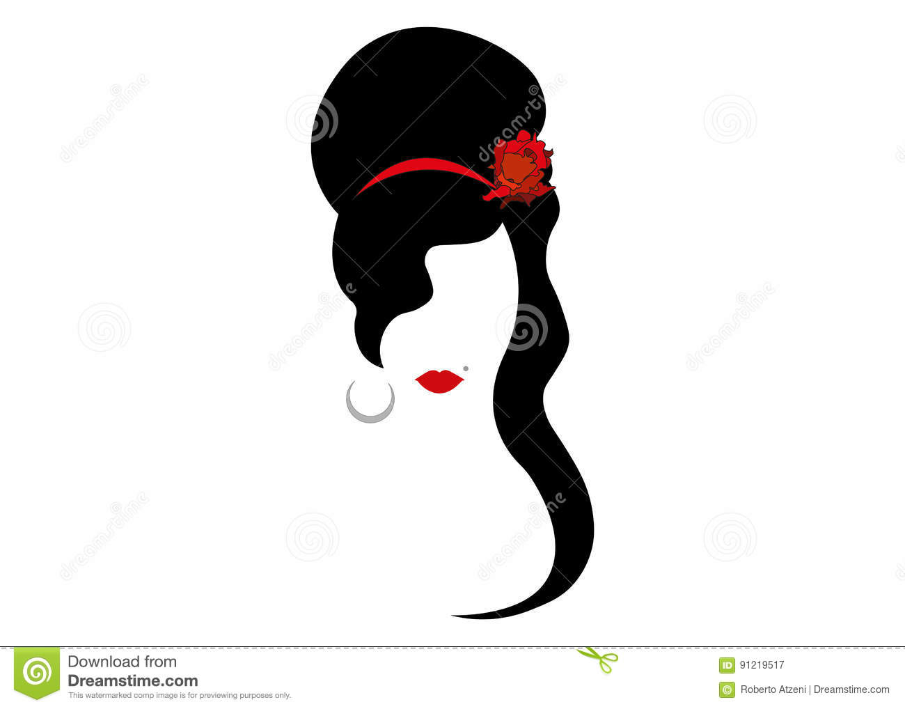 Amy Winehouse - minimalist version, vector portrait of jazz singer