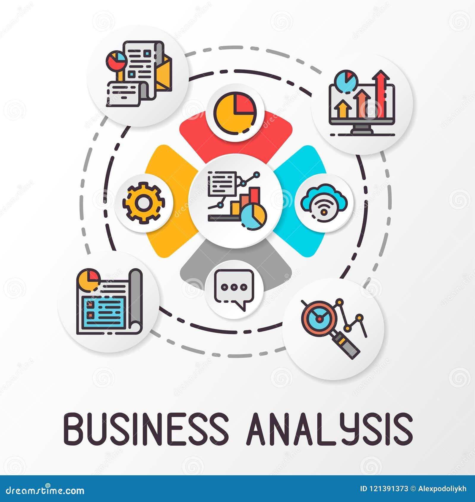 Análise de negócio de Infographics usando ícones coloridos Gráfico financeiro do crescimento Ilustração do vetor