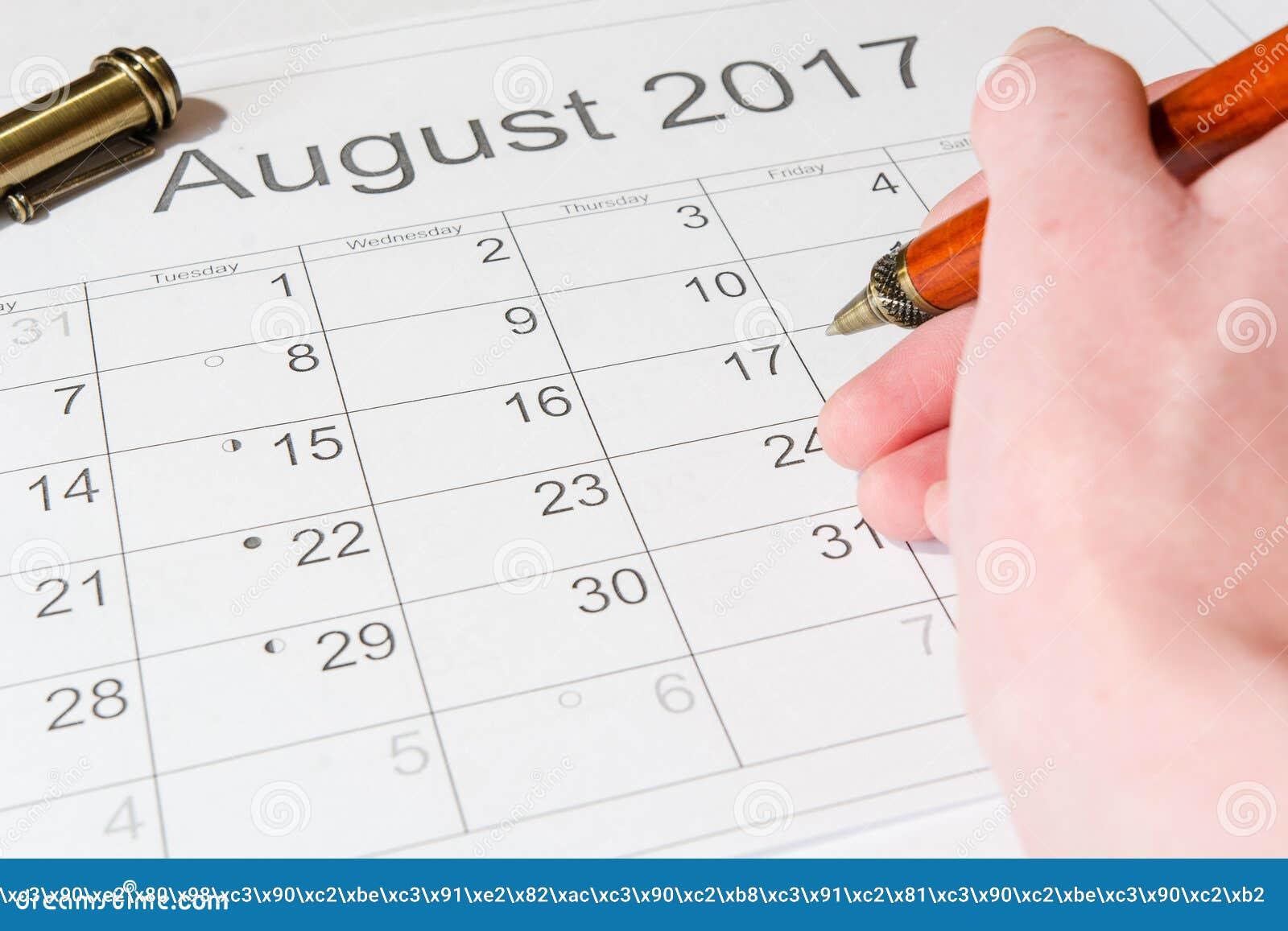 Análise de um calendário agosto