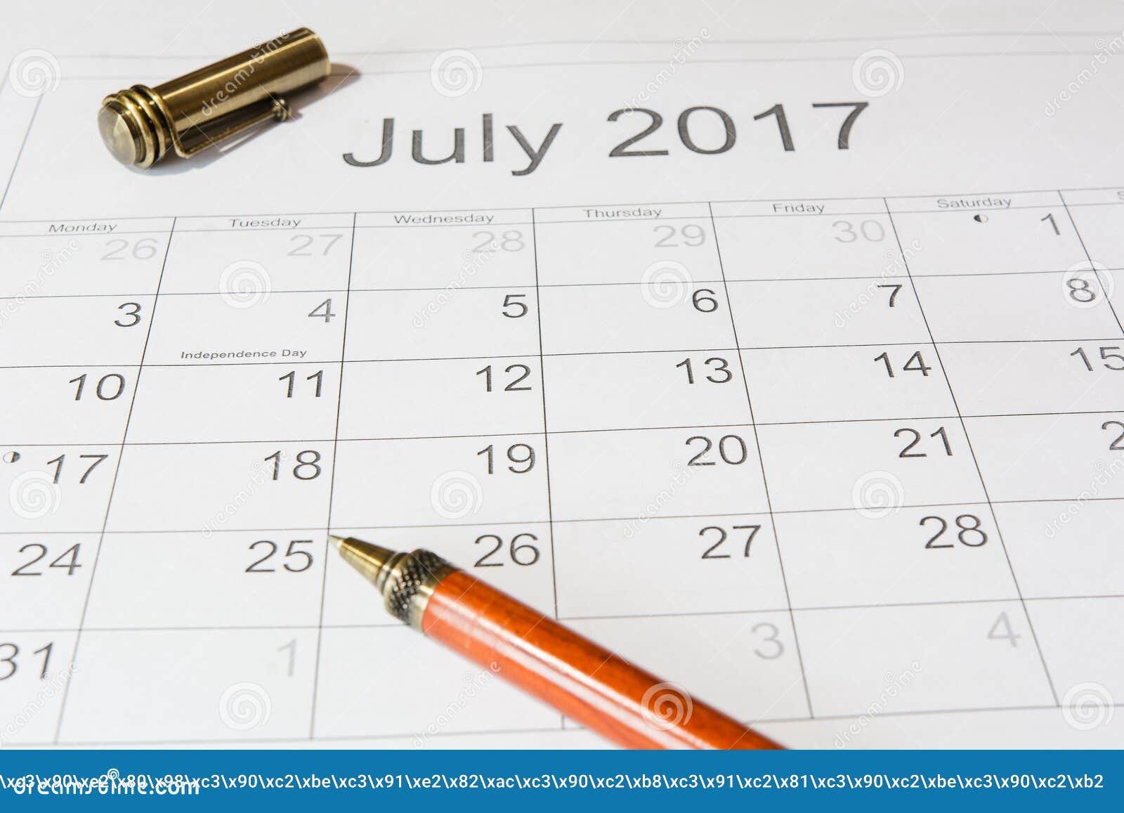 Análise de um calendário julho