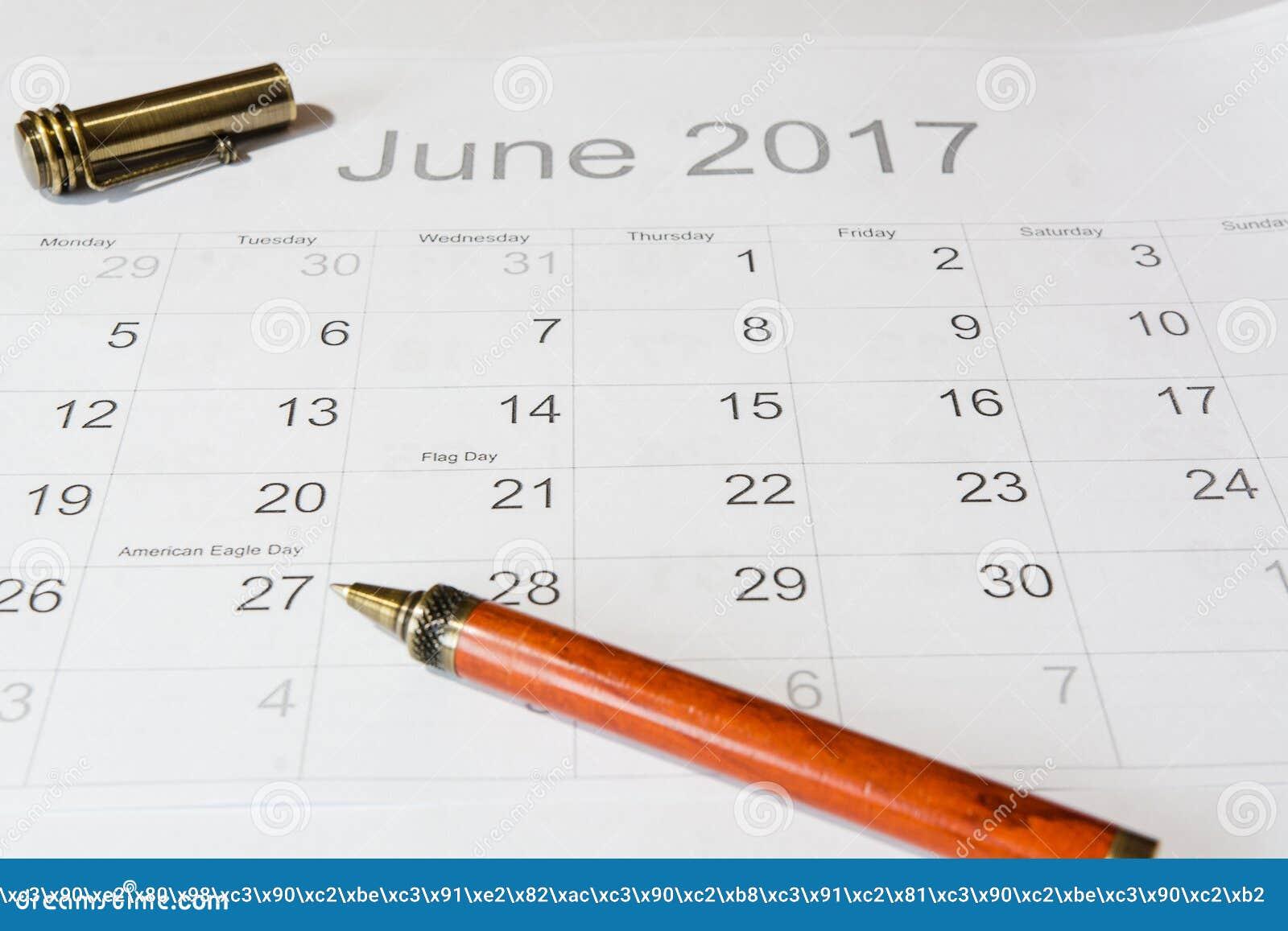 Análise de um calendário junho