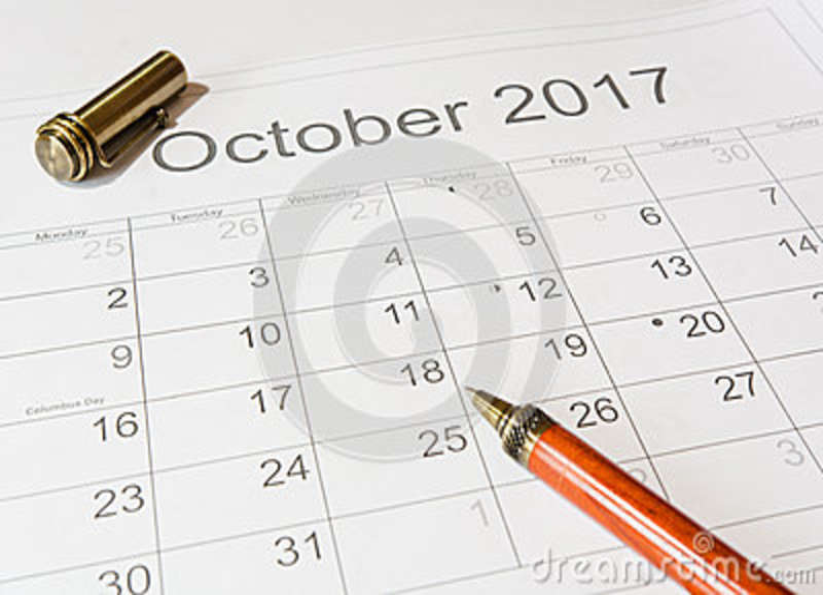 Análise de um calendário outubro