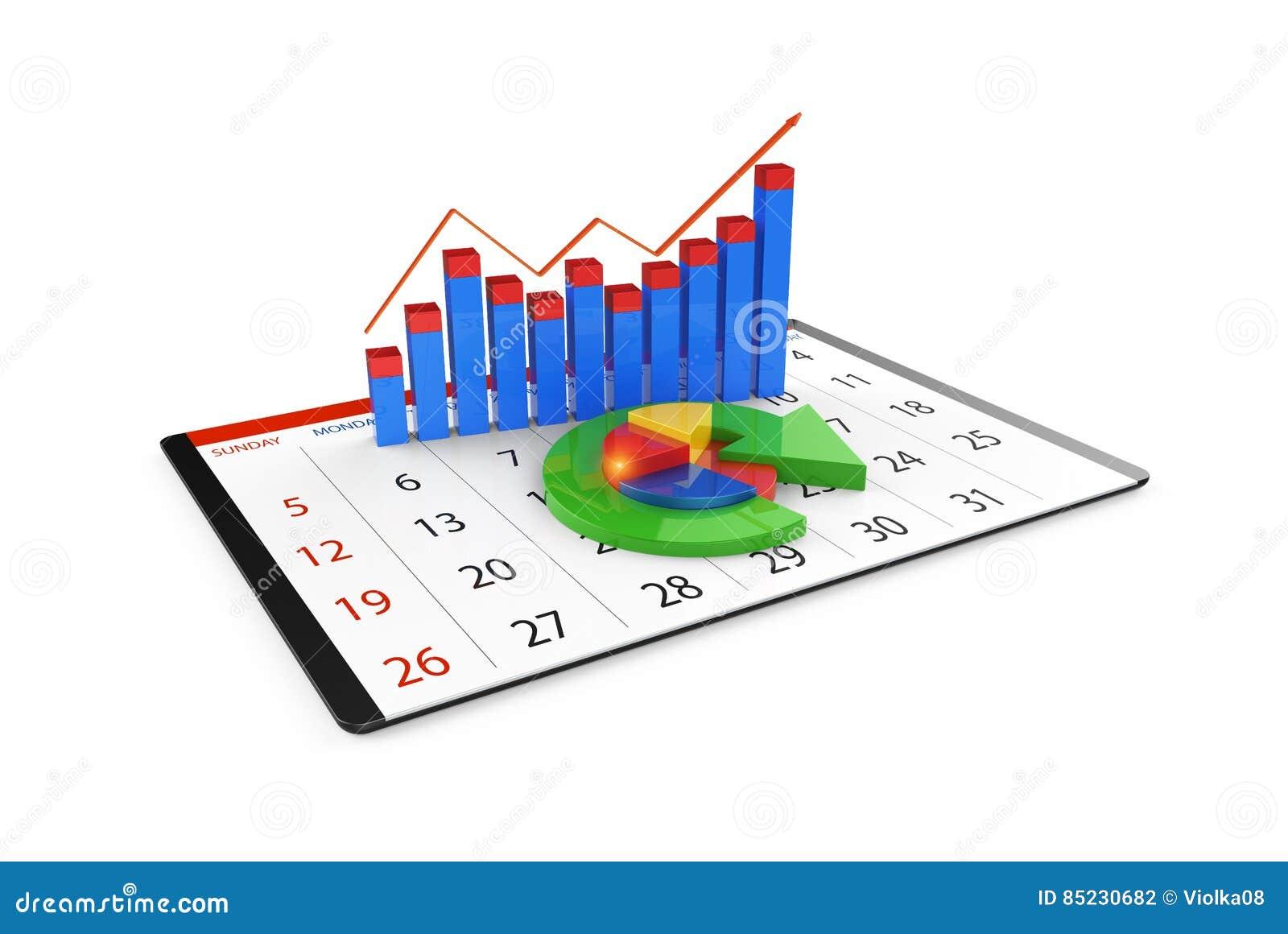 Análise dos dados financeiros nas cartas - vista geral gráfica moderna das estatísticas