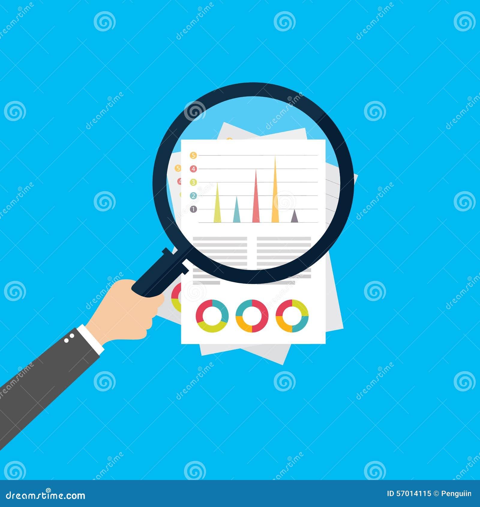 Análise financeira, conceito da análise de negócio, vidro da lente de aumento com gráfico de barra no fundo vermelho Ícone liso d