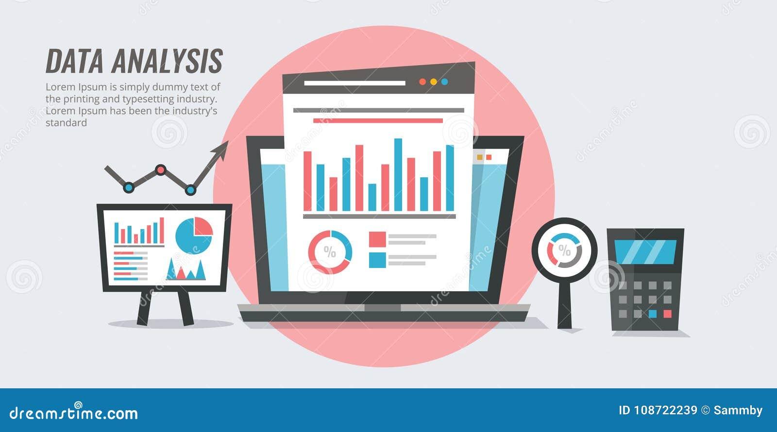 Análisis de datos - información de marketing - concepto de la información de la auditoría del sitio web Ejemplo analítico del vec