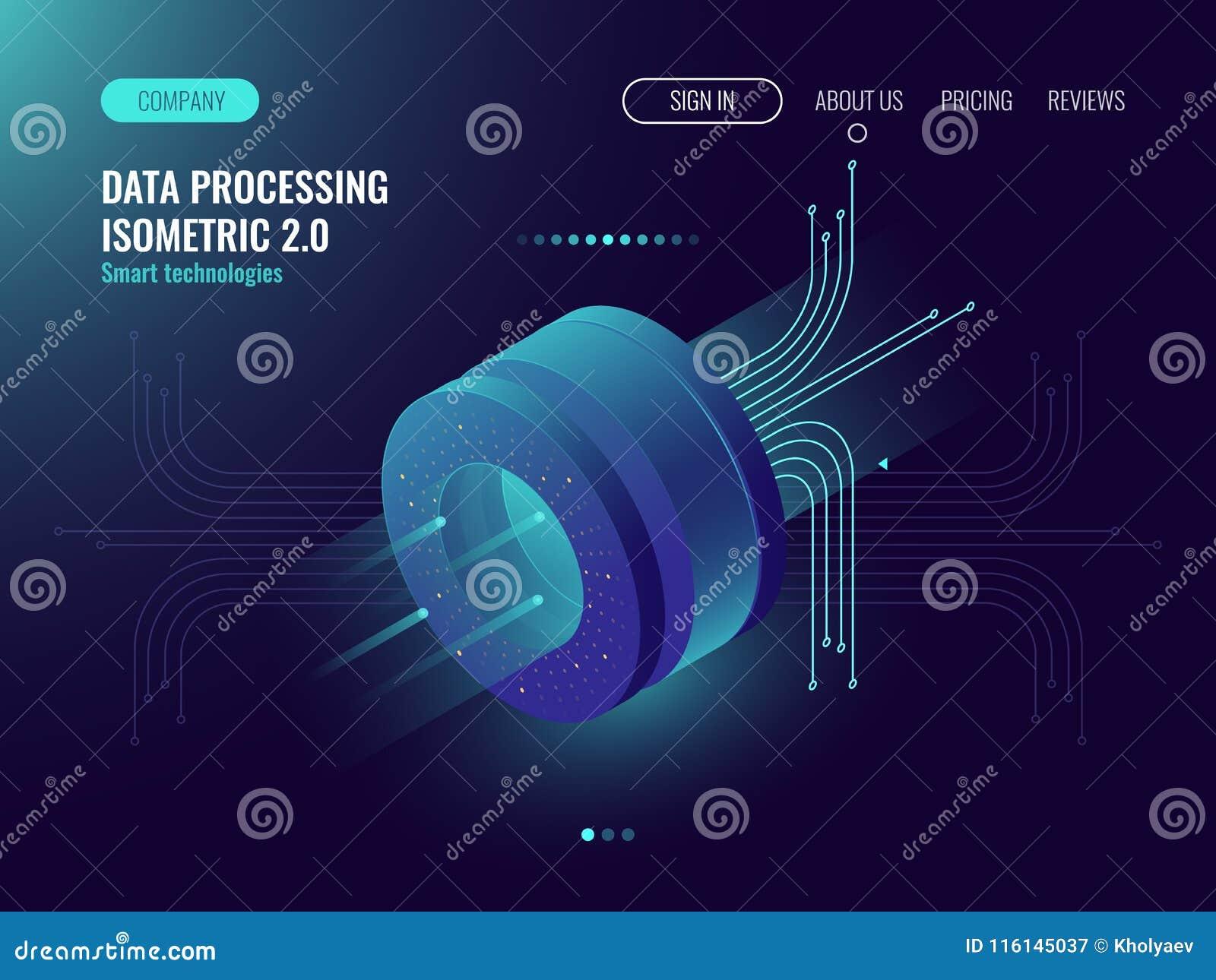 Análisis de datos que procesa los datos grandes que computan, flujo de información, laboratorio de ciencia digital, oscuridad del