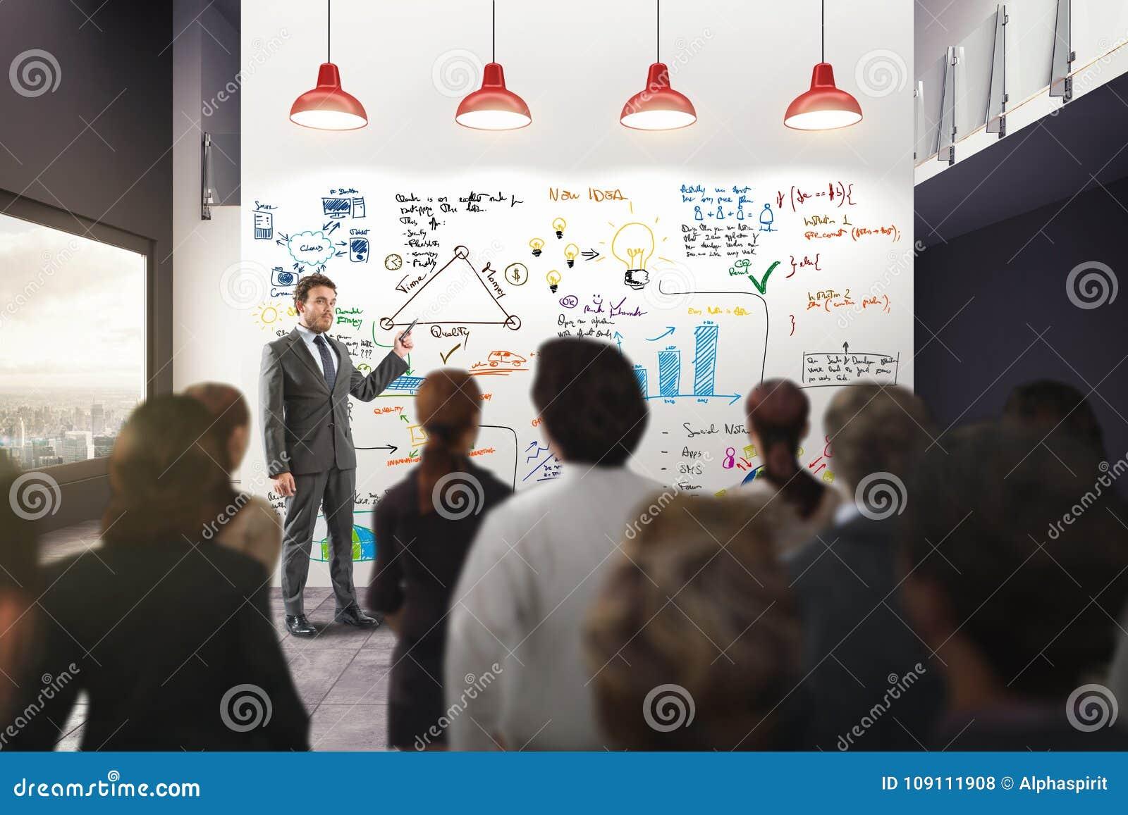 Análisis de negocio en una oficina representación 3d
