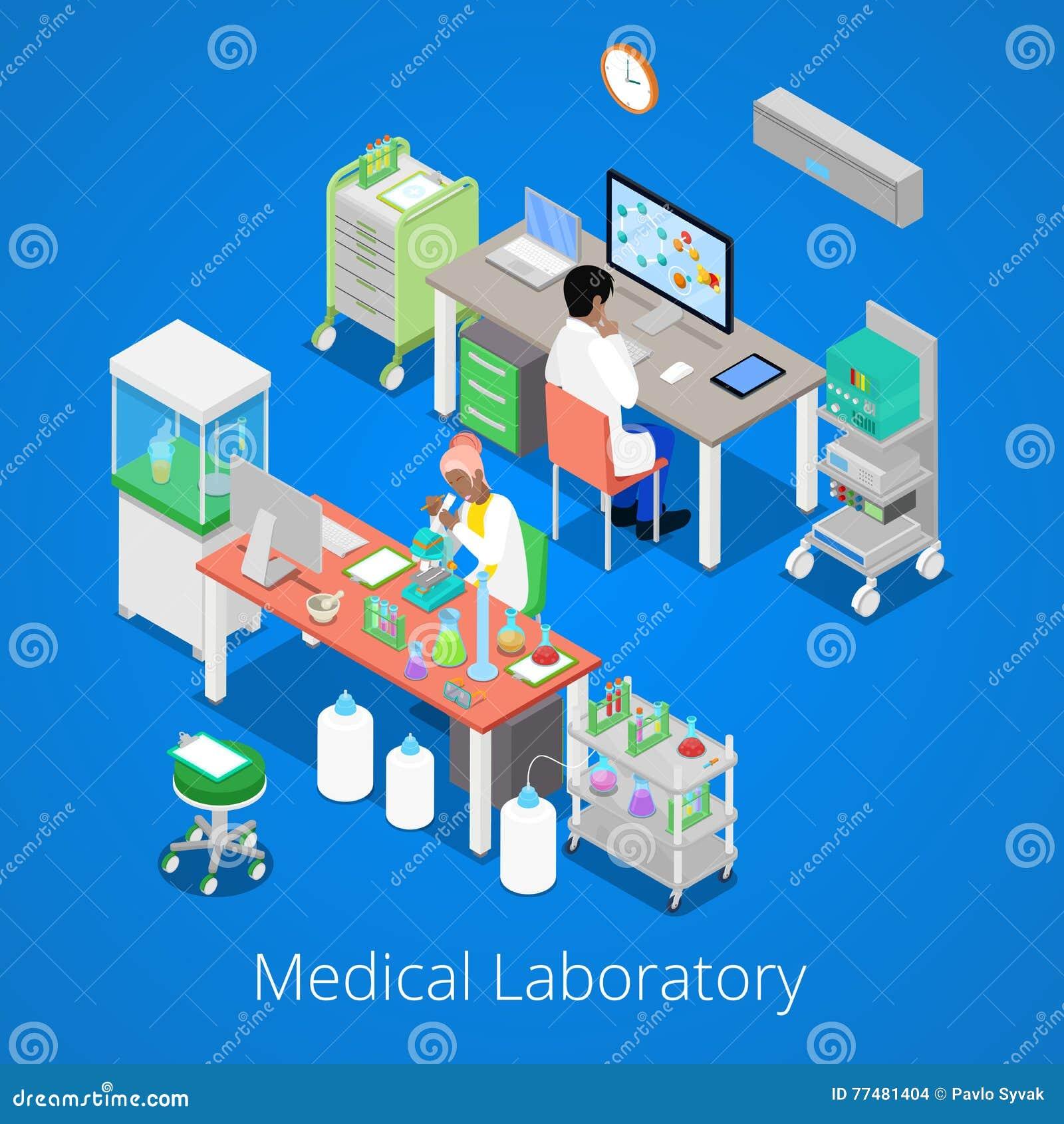 Análisis isométrico del laboratorio con la investigación del personal médico y de la sustancia química