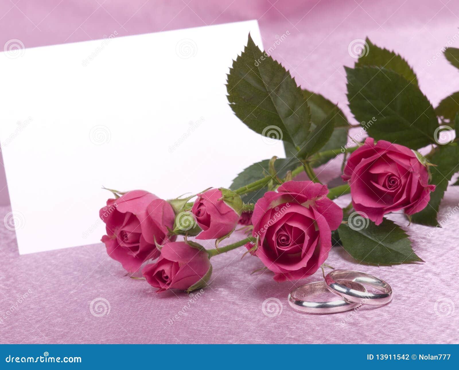 Anéis, cartão e rosas de casamento de prata