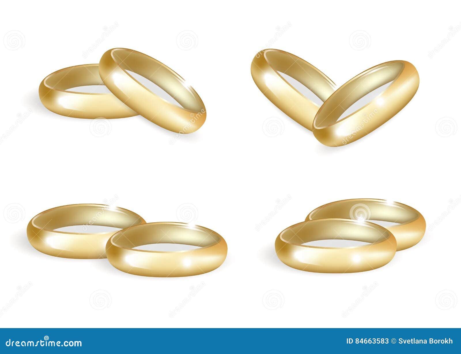 1e4d12bbf6b54 Anéis de ouro realísticos do casamento ajustados coleção das alianças de  casamento 3d isolada no fundo branco Ilustração do vetor