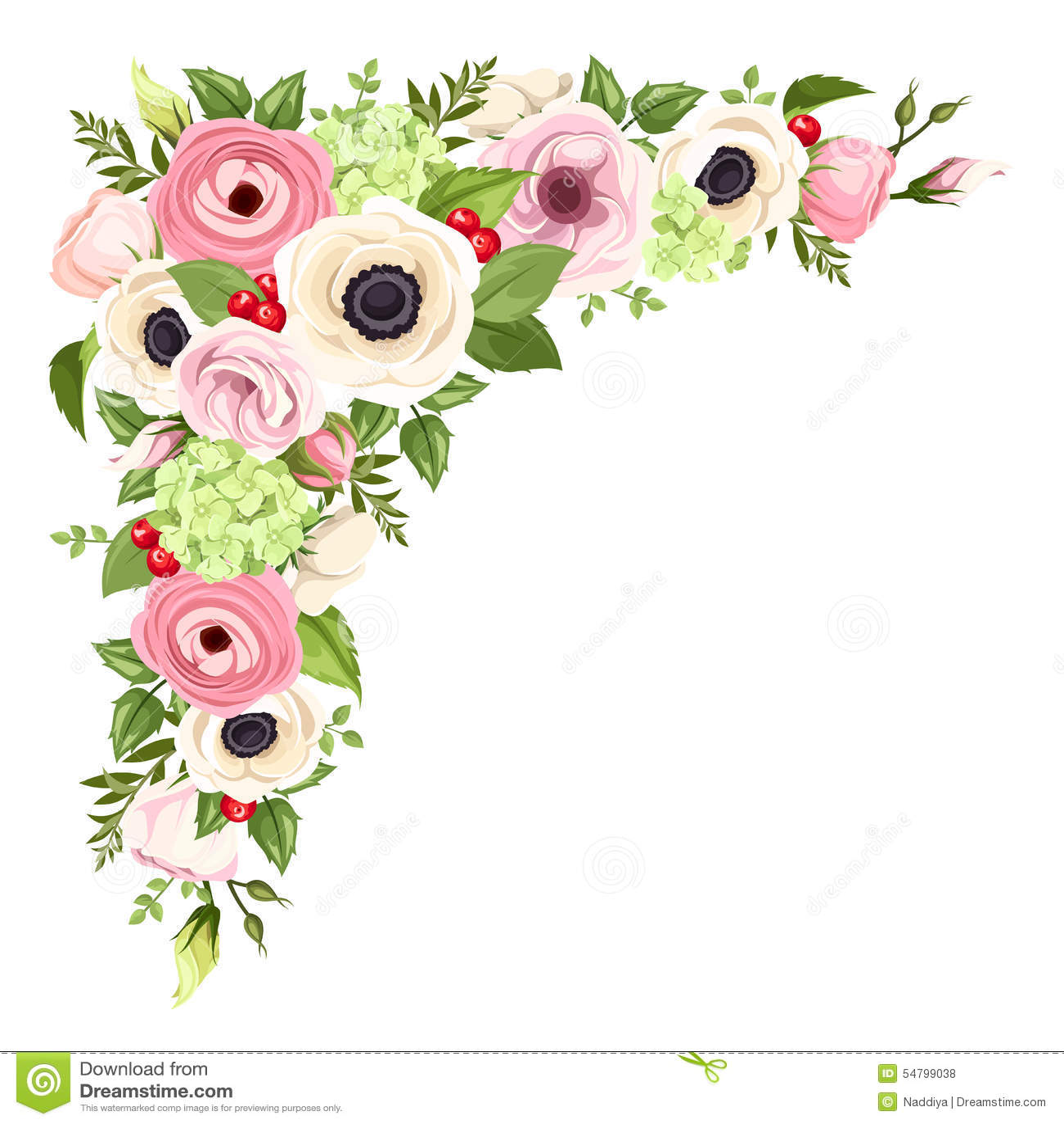 Anémonas, lisianthuses, flores del ranúnculo y de la hortensia y hojas rosados y blancos del verde Fondo de la esquina del vector