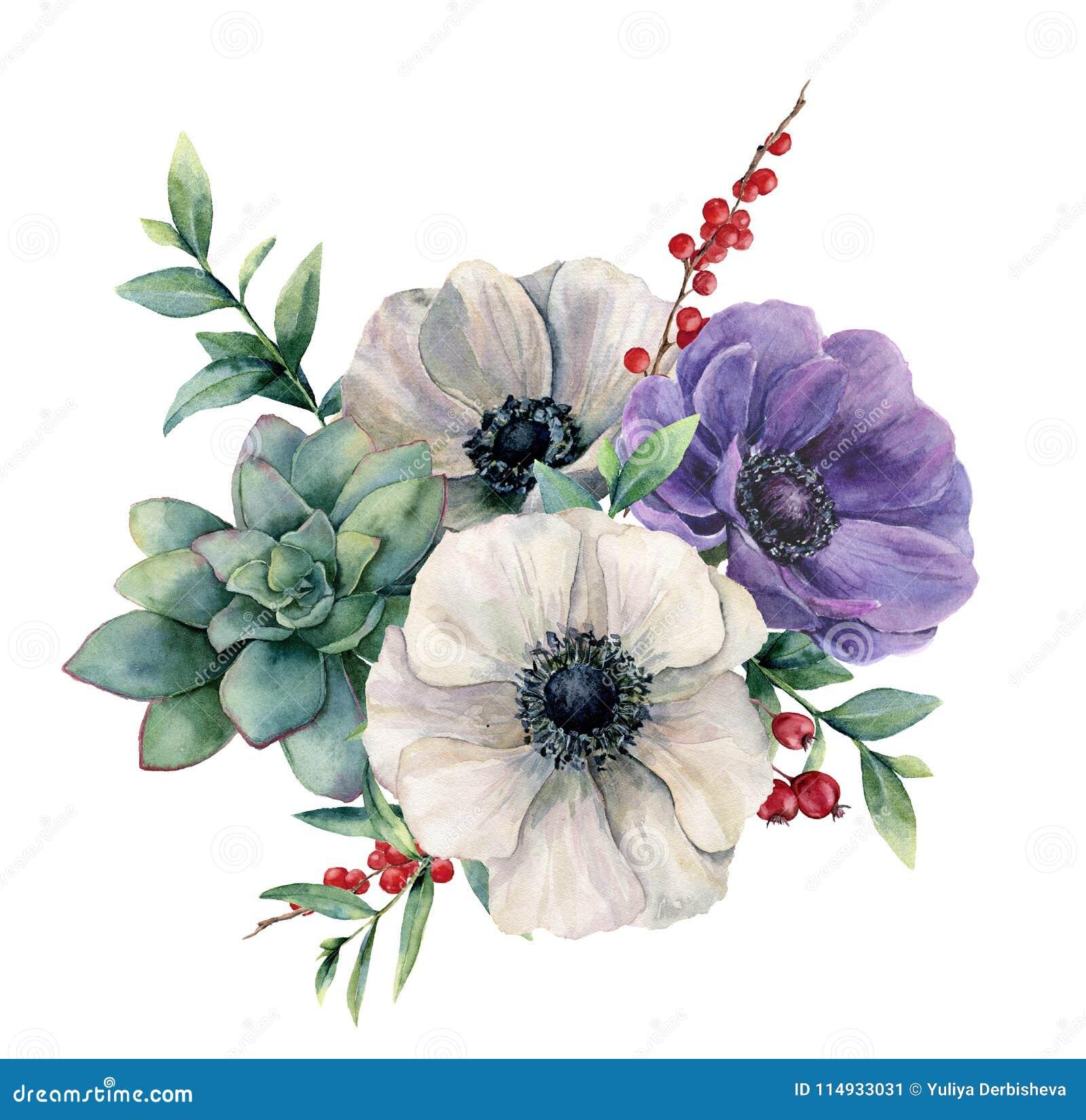 Feuille D Eucalyptus Bouquet anémone blanche d'aquarelle et bouquet succulent fleur