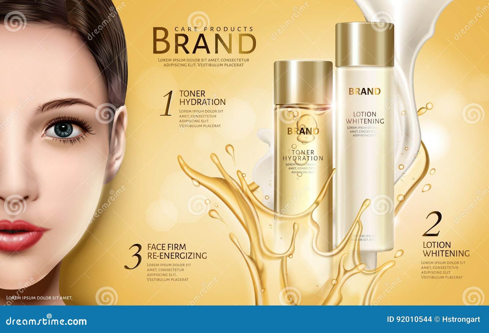 Anúncio de produtos cosmético