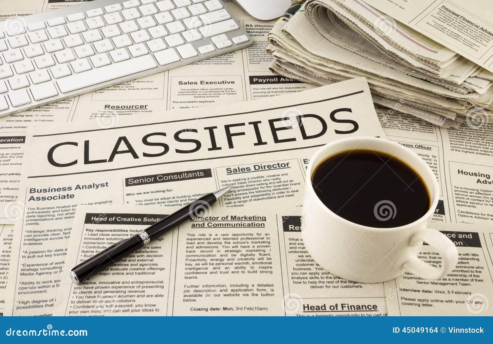 Anúncios de Classifieds no jornal