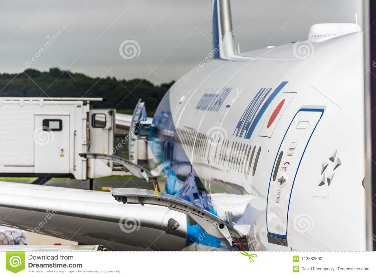 August 18 2017 Narita International Airport Tokyo Japan-Frieght doors open with freight being loaded on All Nipon jetlin & August 18 2017: Narita International Airport Tokyo Japan-Frieght ...