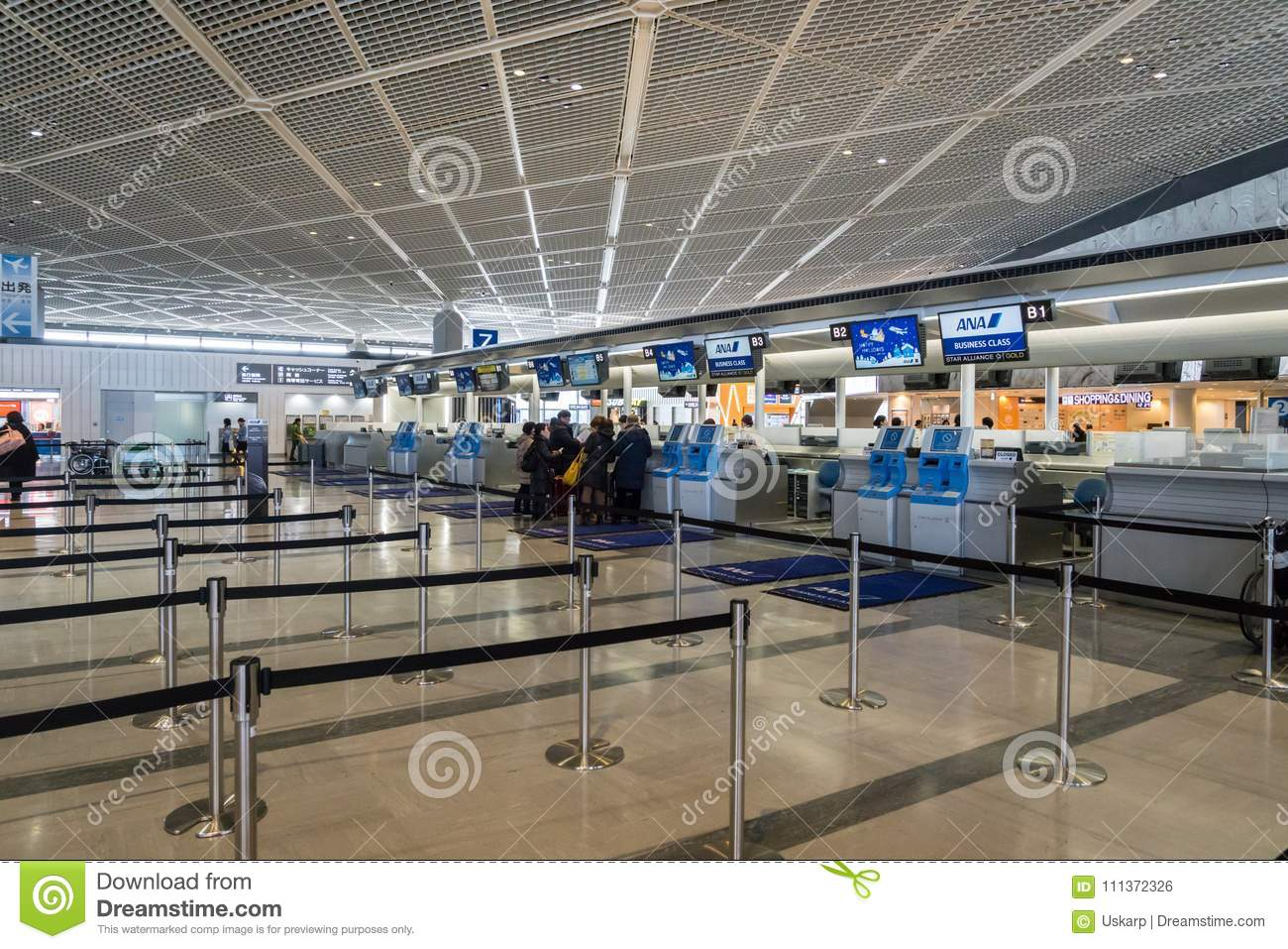 ANA, All Nippon Airways, check-in counter at Narita Airport, Japan.