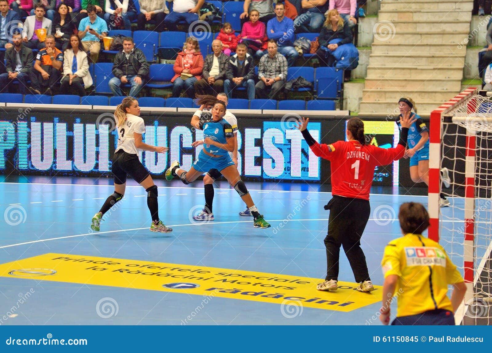 Ana Paula Rodrigues, speler van de aanvallen van CSM Boekarest tijdens de gelijke met MKS Selgros Lublin