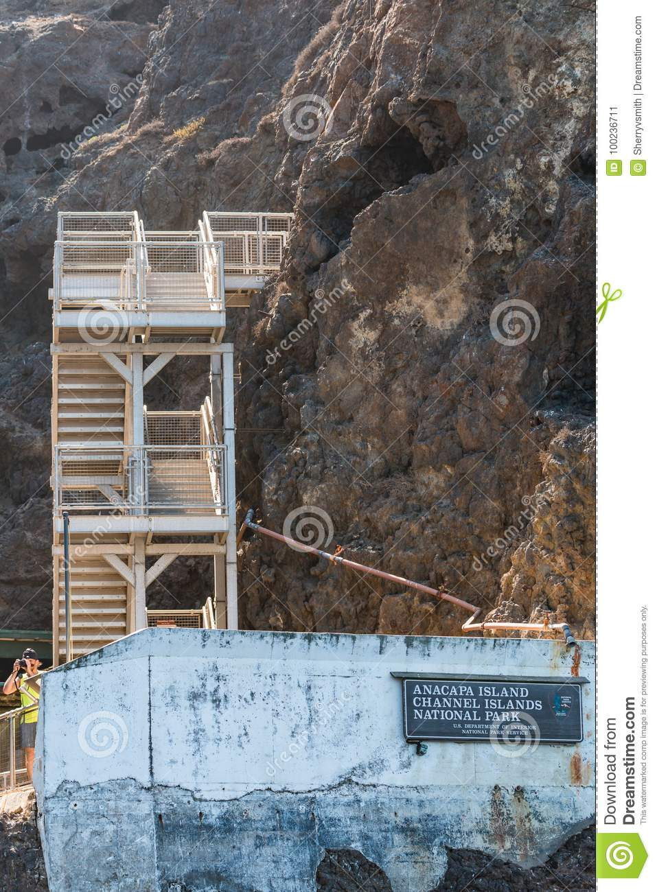 Boat Landing and Staircase on Anacapa Island in Southern California