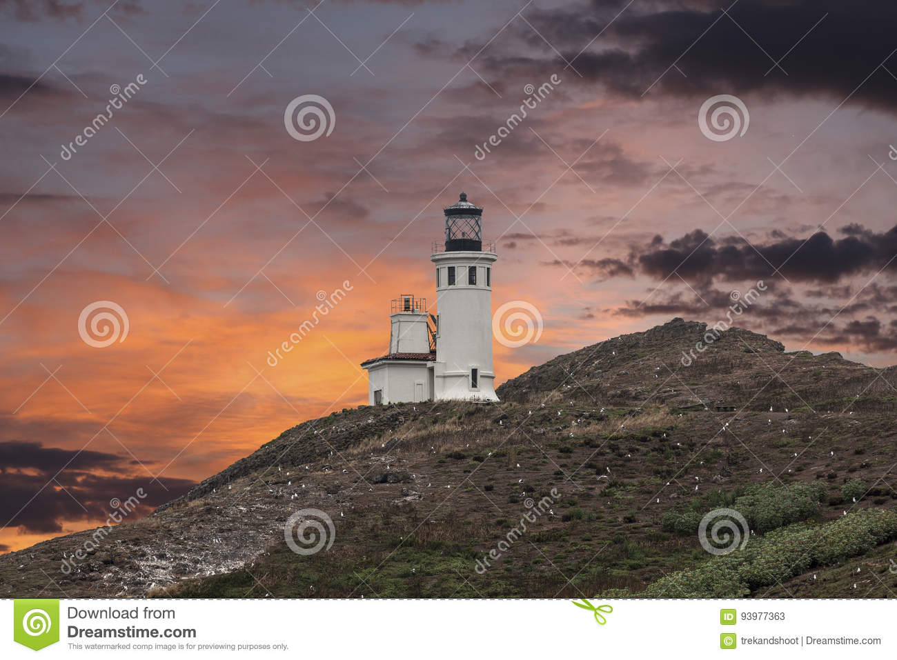 Anacapa Island Lighthouse Sunset at Channel Islands National Par