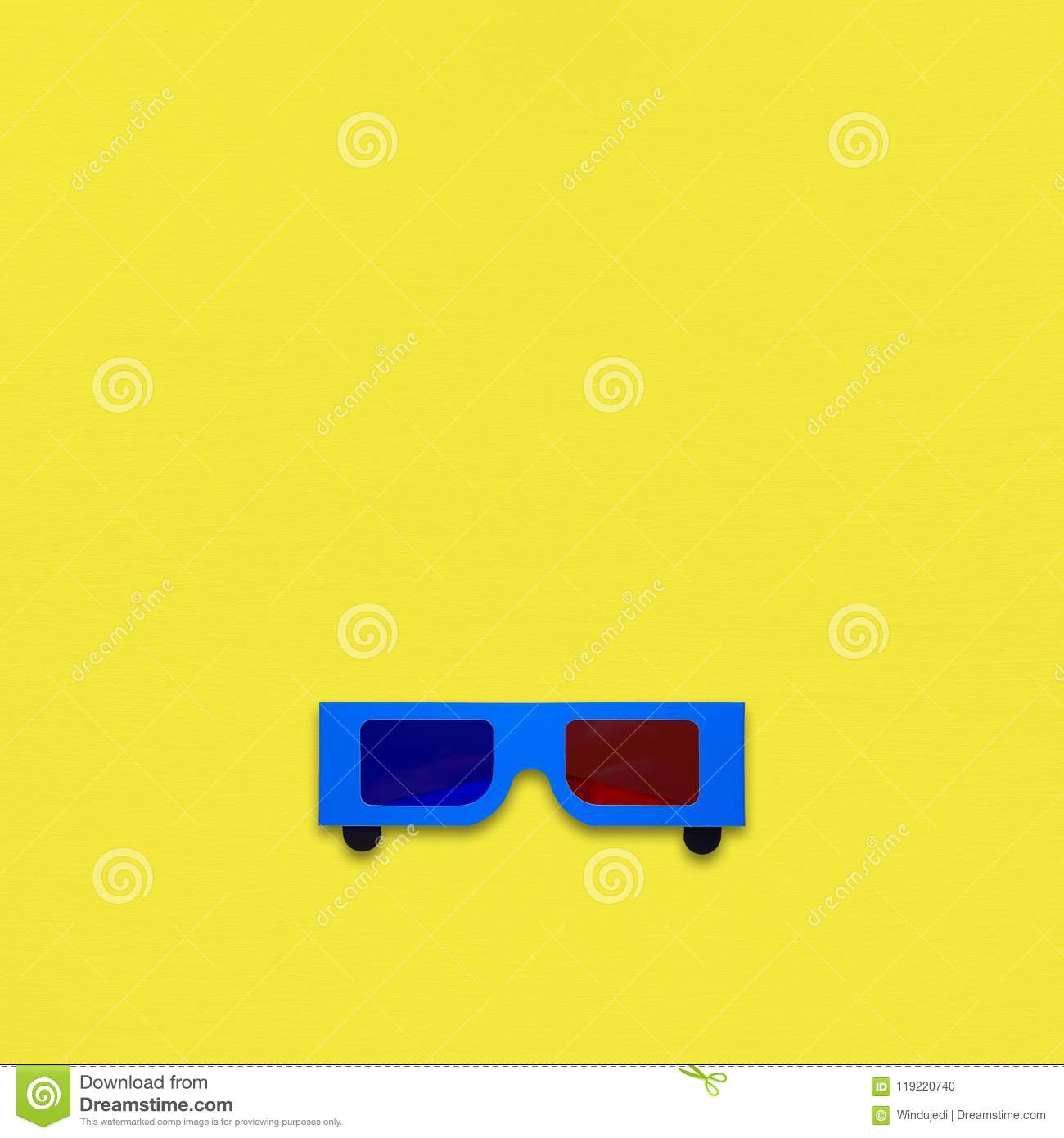 Anaglyph glasses on yellow background