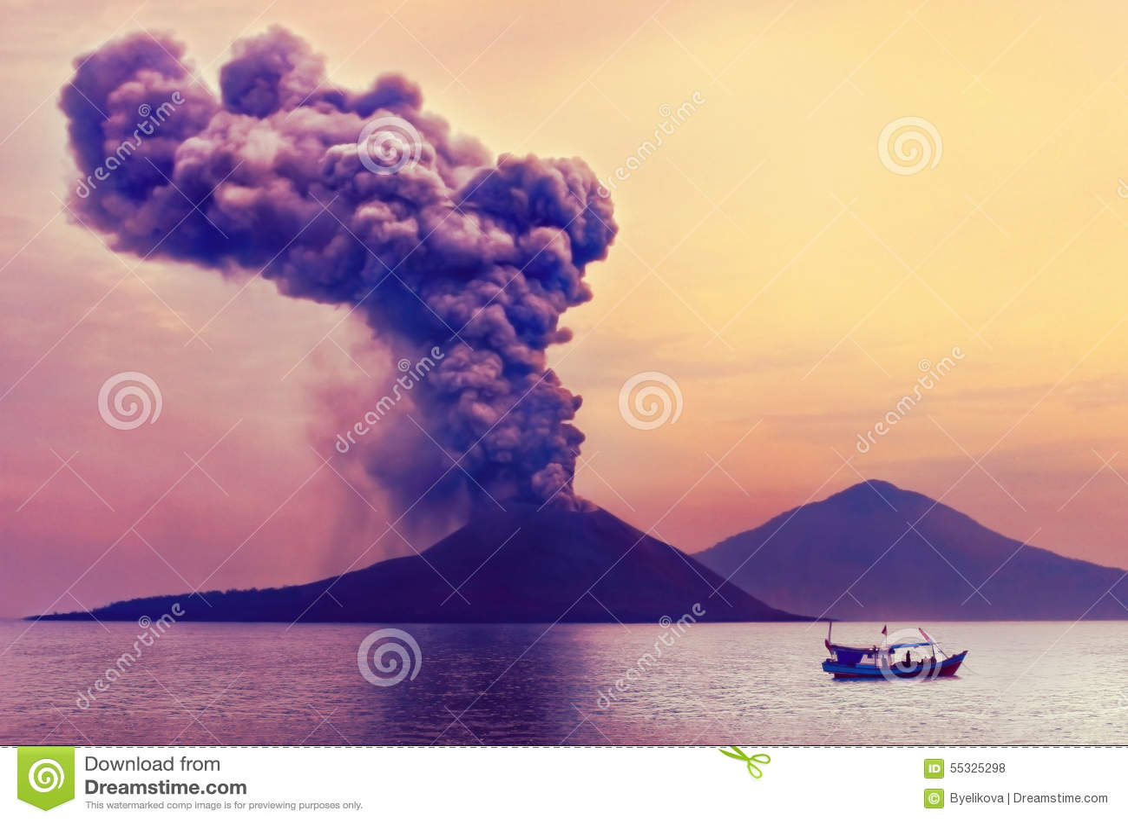 Anak爆发印度尼西亚krakatau火山