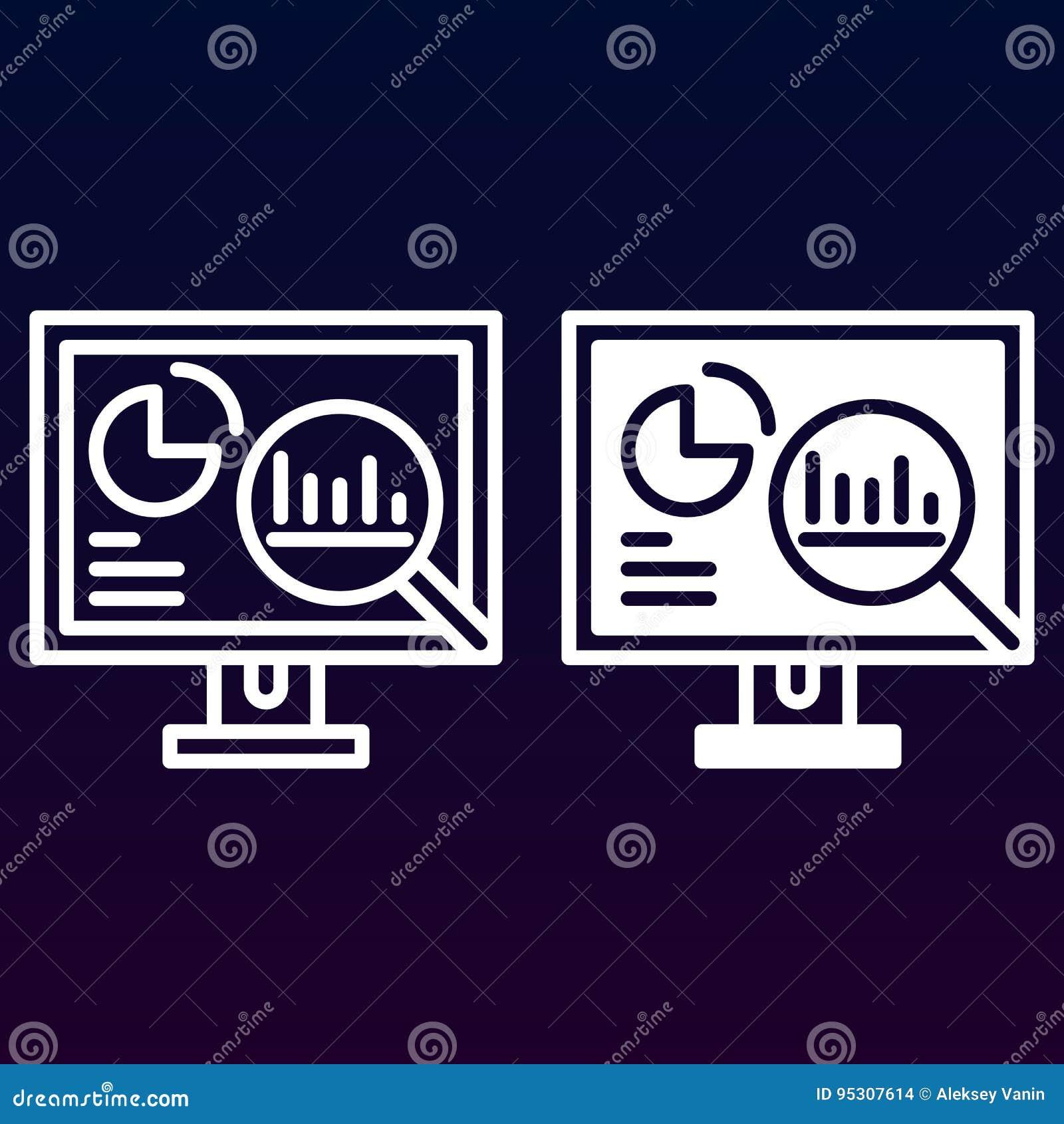 A analítica, computador de secretária com gráficos alinha e ícone contínuo, esboça e encheu o pictograma do sinal do vetor, o lin