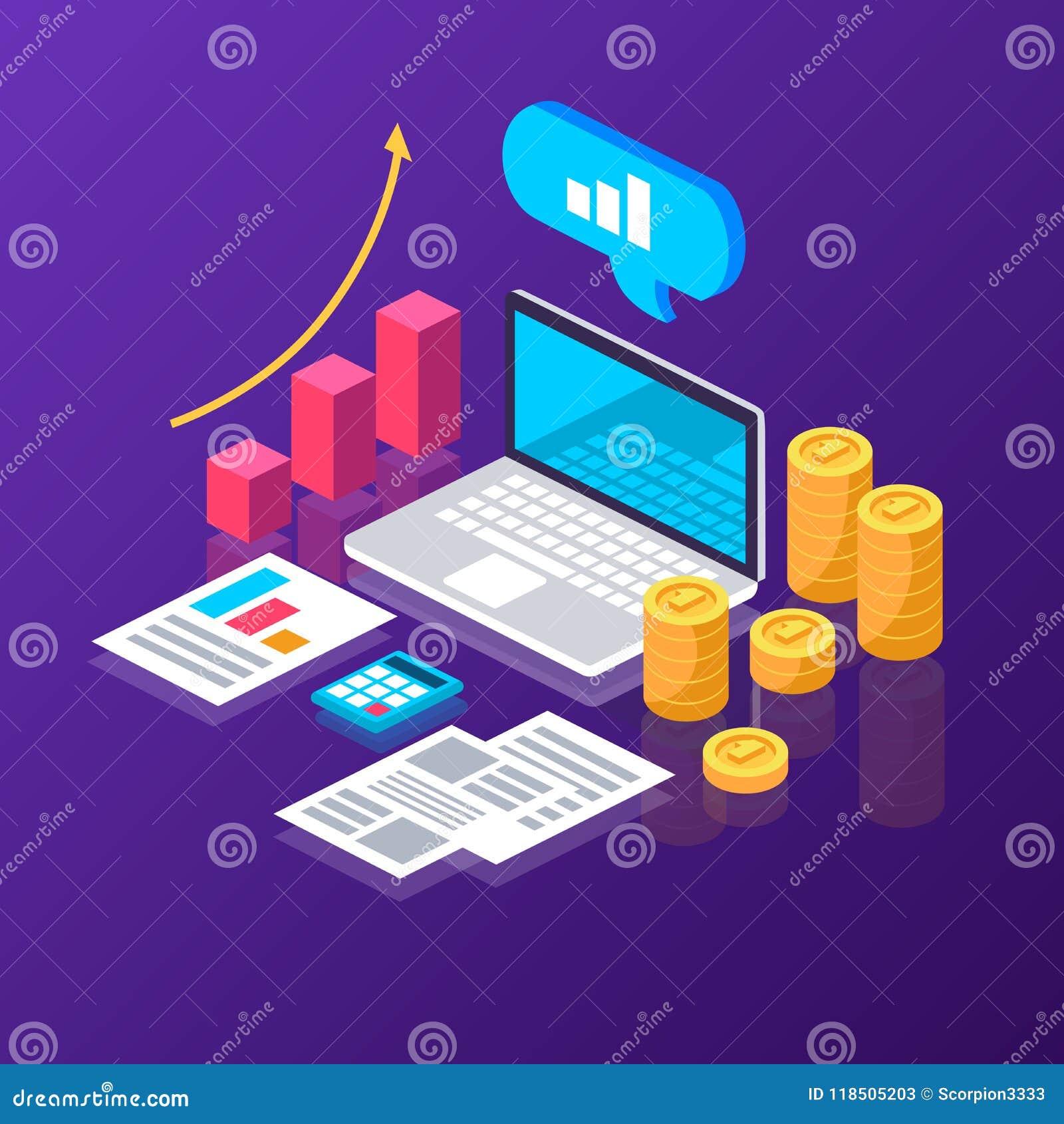 Analítica em linha Estatísticas dinheiro diagramas isometric