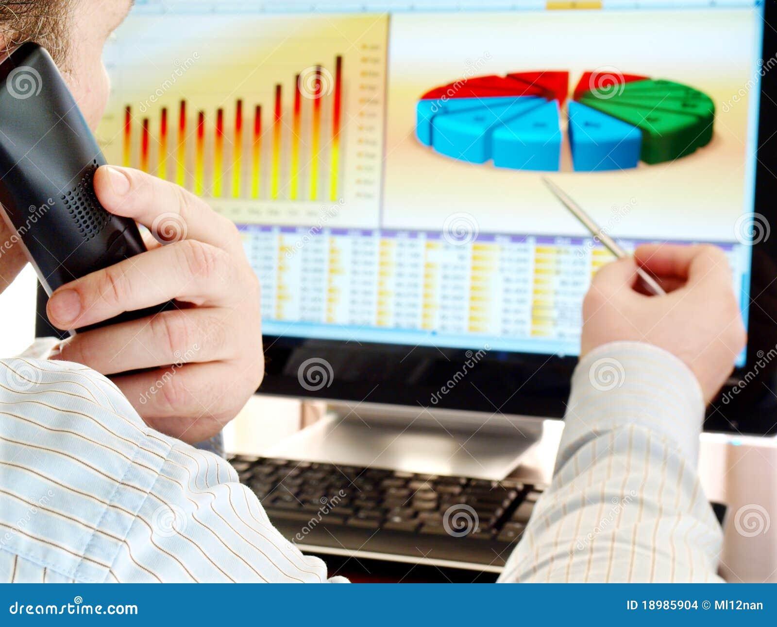 Analisando dados no computador.