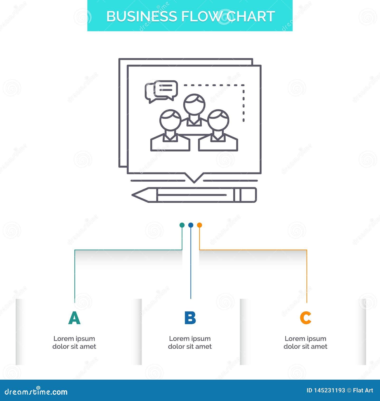 Analiza, argument, biznes, przekonuje, debatuje, Biznesowego Spływowej mapy projekt z 3 krokami Kreskowa ikona Dla prezentacji t?