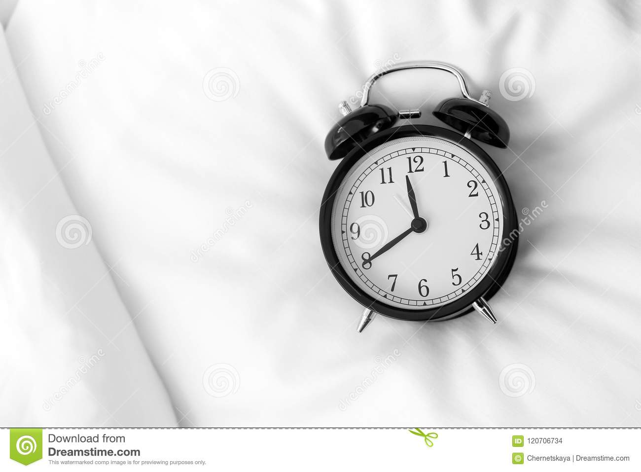 Analog Alarm Clock On Bed, Top View  Stock Photo - Image of