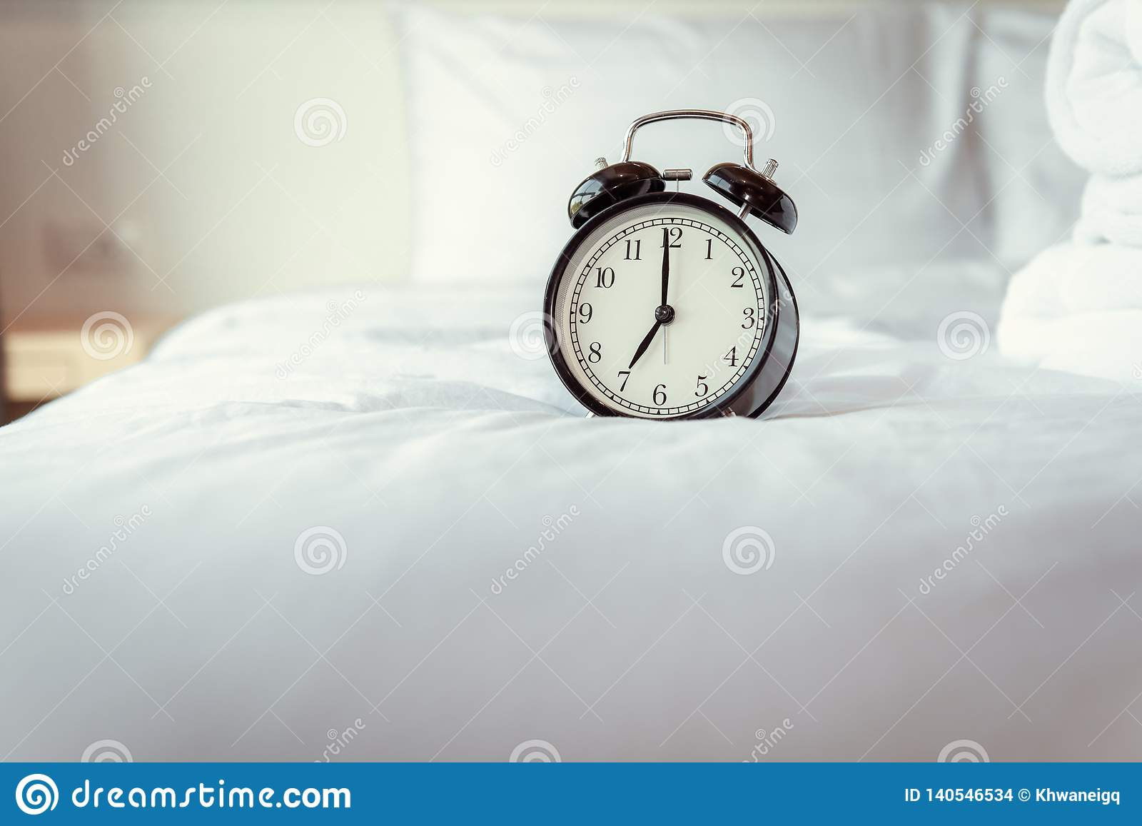 Analog Alarm Clock On Bedroom In Modern House, Retro Timer At 7.00 ...